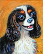 This lovely pet portrait of this King Charles Cavelier Spaniel is a hand painted oil painting on canvas. Beautifully painted this tri color Cavelier spaniel makes a great subject for dog art.