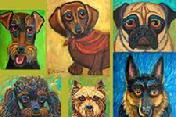 This collection of dogs the Irish Terrier,Dashund, Pug, Poodle, Caim Terrier, German Shepherd makesa a striking combination when put together.