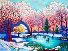 This winter impressioonism scene of ics skaters on a pond  with its back  ground with a warm sun set.