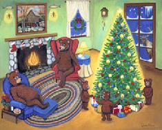 Mama and Papa Bears relaxing in their wing back chairs at the fire place while the three bears are joyfully enchanted with the Christmas tree.