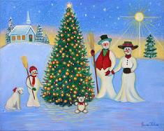 Snow Man family posing for Christmas Photo stand around a beautifully decorated Christmas tree outside.