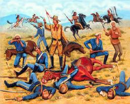 General George Custer at the Battle  of Little Big Horn, Many Soldiers and horses have fallen and died from the Indian seige, Custer with a few soldiers is fighting it out until the end.