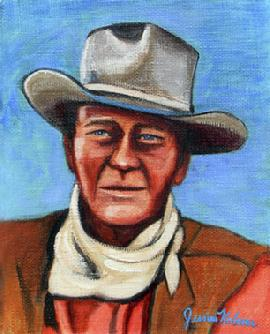 John Wayne Portrait capturing his personality with hat and scarf.This 11x14 Original Oil Painting On Canvas was painted by country western artist Jessica Kolesar. .
