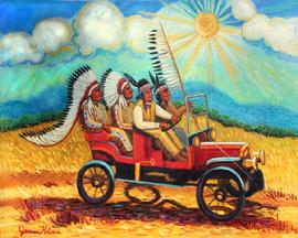 What a happy painting with the sun shinning and a red model T convertable with a group of Cheyenne indians having a great time riding along, There are two Indian cheifs in full feathered head dress in their buckskins beaded andd the other indians have tall hats adorned with feathers.