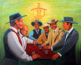 The Erps and Doc Holiday are ina saloon having a drink planing their stratiigy for the fight at the OK Corral . The color is fasinating , a hazy greenish background.