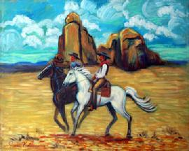 Two western cowboys riding a blachorse and a white horse ,with a New Mexico background with the colorful Buttes a and pretty sky.