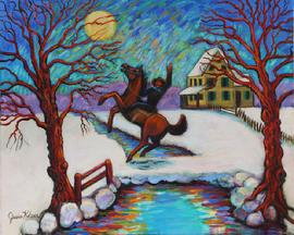 Black Bart the famous out law in Nothern Calif would only rob the Wells Fargo Stages. He is on his horse rearing up on a bridge in a snow covered moon light night.