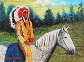 Indian Cheif with full   feather head dress and decorative buckskins is sitting on a grey and white dappled horse  veiwing a sunset.