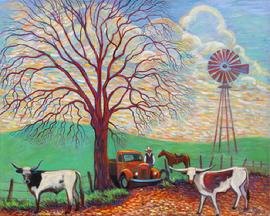 two long horn steers have gotten out  and a cowboy stops with his horse to get them back in the fence . An old red truck is stopped at the gate . A wonderful multi colored sky and impressive oak tre with wind mill makes this painting magical.