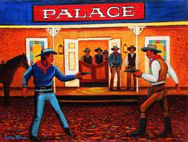 two cowboys shooting it out in front of the palace saloon, The painting is painted on a heavy canvas that is mounted on  a wood panel. This painting has a contemporary western flavor to it.