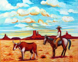 A appleloosa pony and cowboy behind a long horn steer in New Mexico with the red buttes behind.