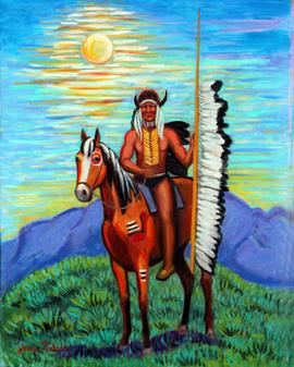 Indian with a buffalo head dress is sitting on his pony who has war paint on him . a bay horse  with a black and white main. The indian is holding a pole with many eagle feathers on it.Pretty sunset behind the indian and horse.