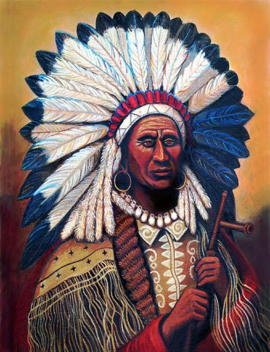 A fine western art painting of the Cheif Red Tomahawk  Indian with the feathered headdress on and holding a peace pipe.
