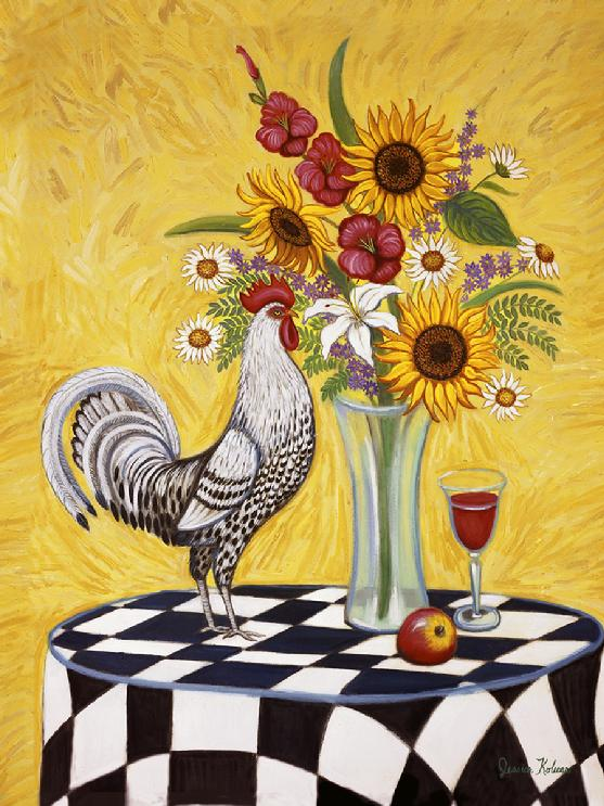 Ablack and white rooster standing on a black and white table cloth with a vase of flowers with sunflowers and gladiolas.