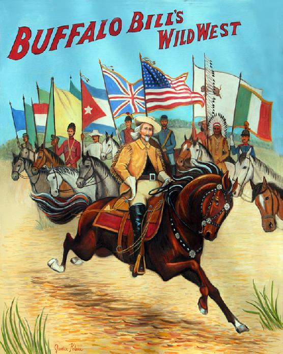 Painting of Buffalo Bill at the wild west show with the cowbow western theme that he was noted for. Costume riders with their national flags are the back drop for this hand painted oil painting.