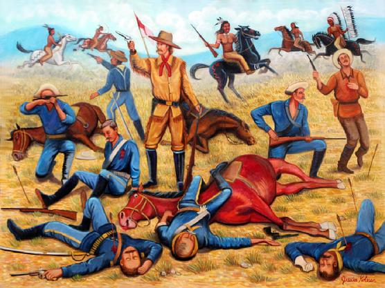 Custers Last Stand, an original oil by Jessica Kolesar General George Custer is fighting it out at the battle at Little Big Horn. Many of his soldiers and horses have fallen to their death and Custer and a few soldiers are fighting it out to the end.