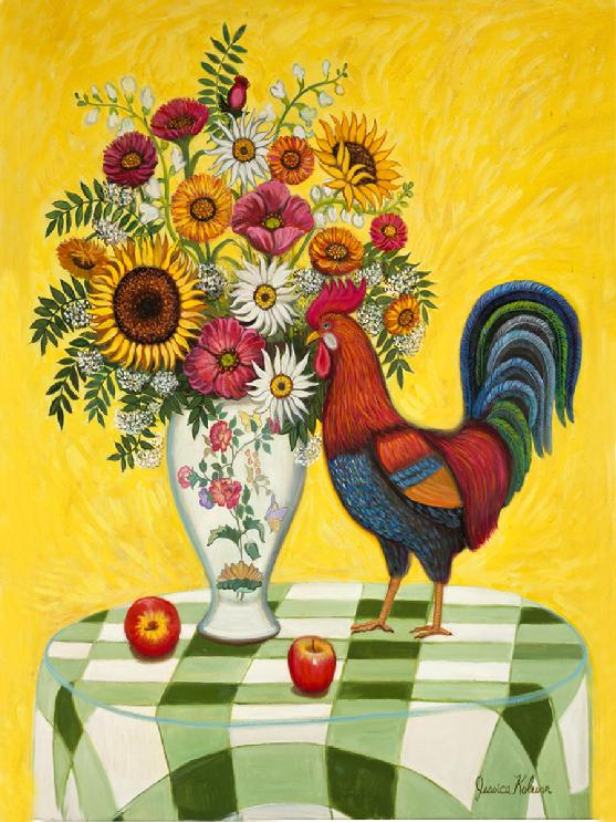 A  brown and black rooster is stand ing on a green and white table cloth with a flowered porcelean vase filled with assorted flower arrangement of sunflowers, and daises
