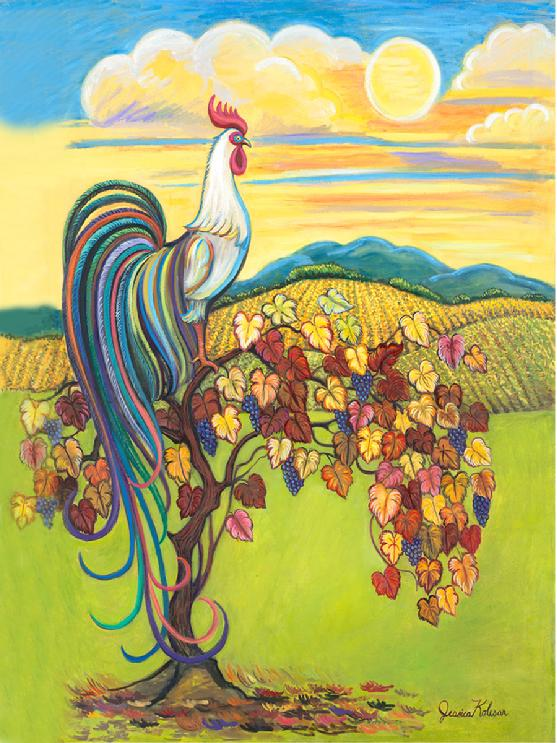 A Phoenix rooster whom has very long tail feathers is sitting on an antique grape vine with a majestic  sun and clouds behind him.